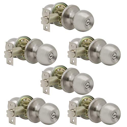 6 Pack Interior Round Privacy Door Knobs Door Lock Keyless Lockset Doorknobs for Bed and Bath in Satin Nickel Adjustable Latch Backset by Probrico-Door Knob 607