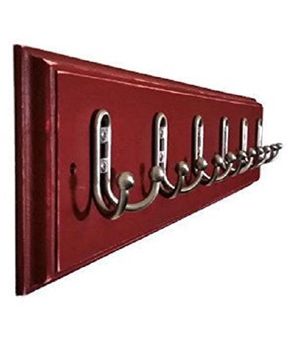Countryside Wall Mounted Coat, Clothing or Towel Hooks, Customizable Number of Double Utility Hooks - 20 Colors - Shown In Sundried Tomato Red