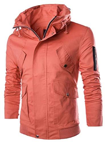 Zip Uomini Arancione Antivento Full Rkbaoye Sottile Giacca Multi Degli Cotone tasca Fit Della T754wq