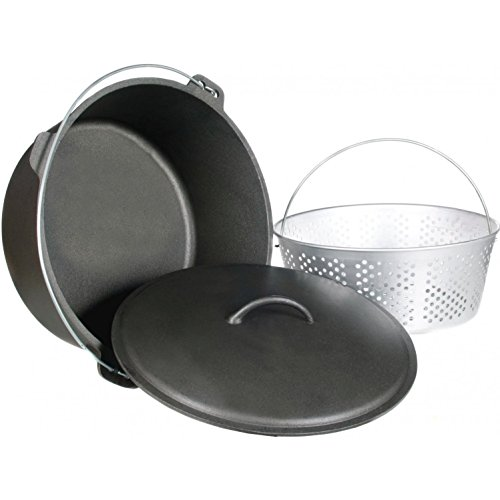 Cajun Classic 20-Quart Unseasoned Cast Iron Dutch Oven With Fry Basket - GL10491WB (Aluminum Perforated Dutch Oven)