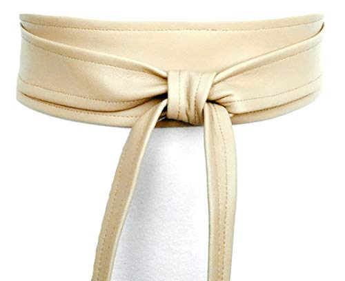 Leather wrap belt Obi belt for women Wide Waist Band Handmade (Cream, M) (B Low The Belt Mia Wrap Belt)