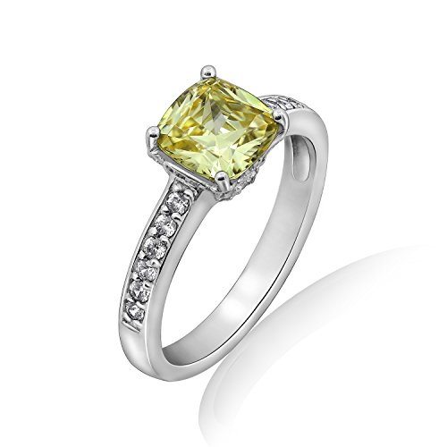 Diamonbliss Platinum Clad Canary Cubic Zirconia Cushion Cut Solitare Ring- Size 10