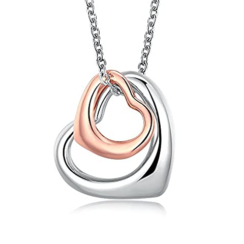 Rose Gold Charm Double Heart Silver Pendant Necklace Eternal A Lifetime Loving You Interlocking Heart Necklace for Womens Girls - Jack Heart Charm
