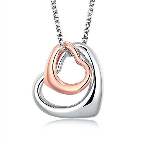 Rose Gold Charm Double Heart Silver Pendant Necklace Eternal A Lifetime Loving You Interlocking Heart Necklace for Womens Girls Teens Valentines For Teens
