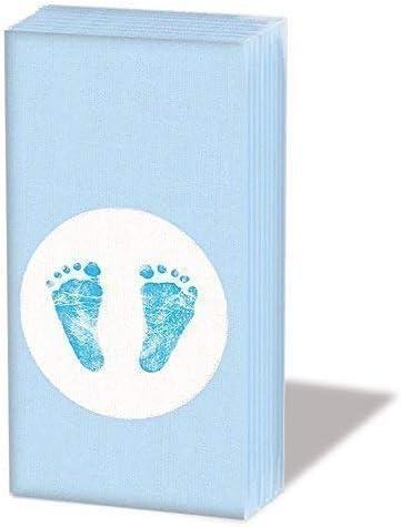 Ambiente Taschentücher Taufe Geburt 6 x 10 Taschentücher Motiv: Baby Steps Boy - Baby-Füßchen blau