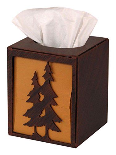 Coast Lamp Iron double Pine Tree Square Tissue Box Cover
