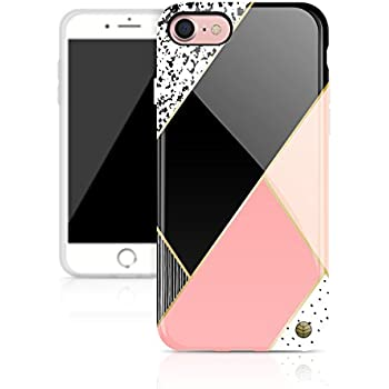 """iPhone 8 & iPhone 7 case for girls, Akna New Glamour Series High Impact Flexible Silicon cover for both iPhone 8 & iPhone 7 (4.7""""iPhone) [Light Pink Geometric](382-U.S)"""