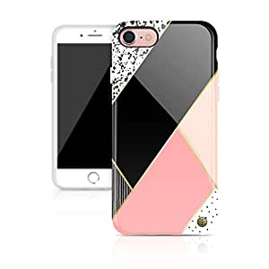 """iPhone 8 & iPhone 7 case for girls, Akna Glamour Series Silicon cover for both iPhone 8 & iPhone 7 (4.7""""iPhone) [Light Pink Geometric](382-C.A)"""