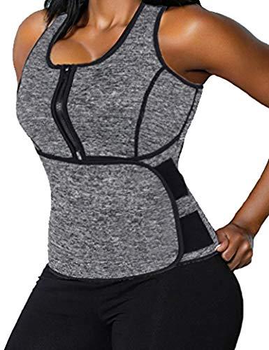 - DODOING Women Neoprene Sweat Sauna Suit Waist Trainer Vest Adjustable Waist Trimmer Belt Tank Top Grey
