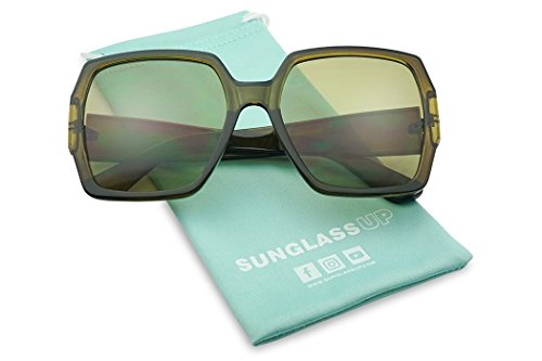 Extreme Oversize Square Colorful Transparent Designer Inspired Super Flat Acrylic Sun Glasses (Olive Green Frame | (Olive Transparent Sunglasses)