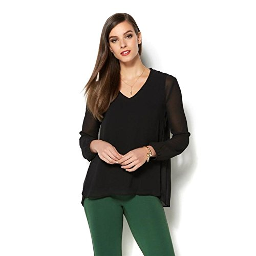 Iman Runway Chic Luxurious Pleated Top Stretch Knit Woven Black 2X # (Woven Stretch Knit Top)