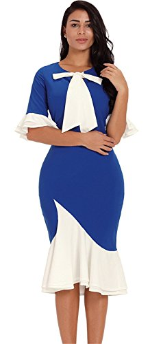 Half Sleeve Ruffled Ruffle Hem Bell Trumpet Flared Flare Sleeve Colorblock Midi Bodycon Fishtail Mermaid Dress Blue XL