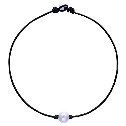 White Single 12 mm Artificial Pearl Handmade Choker Necklaces for Women on Black Original Leather Cord (Pearl Leather)