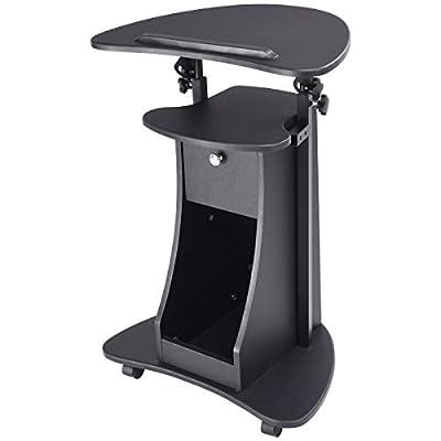 "Black Rolling Laptop Cart Stand Up Desk Storage w/ Adjustable Height 32"" - 46"""