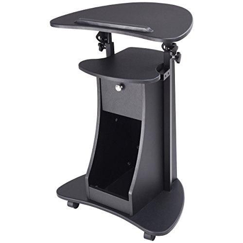 Black Rolling Laptop Cart Stand Up Desk Storage W