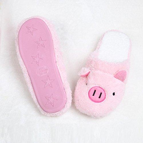 Bluester Lovely Pig Home Floor Soft Stripe Slippers Female Shoes Pink MDb0G