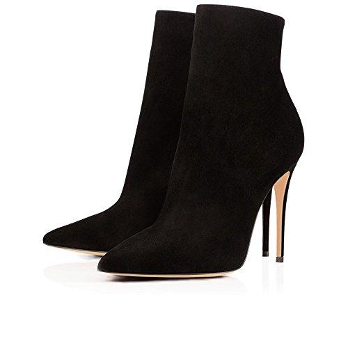 ELASHE Bottes Classiques Femme | 10cm Bottine à Talon Haut | Zip Stiletto Talons hauts Ankle Boots Chaussures Noir-Suède qZjIALWTCd