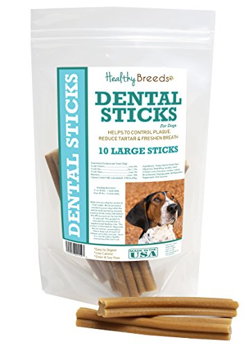 (Healthy Breeds Dog Teeth Cleaning Stick Treats for Treeing Walker Coonhound - OVER 200 BREEDS - Veterinarian Recommended - Grain Free - Made In USA - 10 Large Sticks)