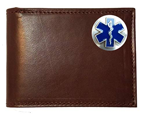 Custom EMT, EMS, Cross of Life Concho on a Brown Harness Leather Flip ID Bi-fold Wallet. Proudly made in the USA. (Custom Conchos)