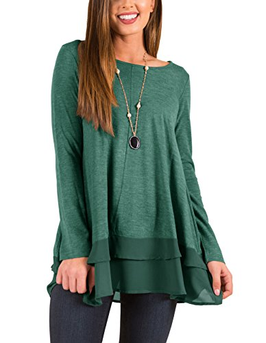 (PRETTODAY Women's Long Sleeve Tunic Tops Round Neck Chiffon Hemline Loose Blouses (Army Green, Small))