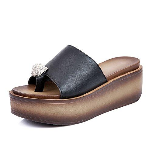 Tacón OME Sandalias Y La Zapatos Toe Pendiente De Llevar amp;QIUMEI Negro En Verano El De Set xrwxF4
