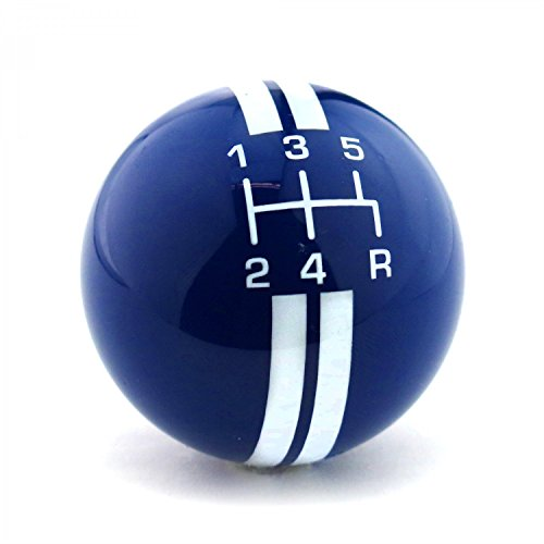 5 Speed Pattern (American Shifter Company ASCSN18007 White Rally Stripe 5 Speed Shift Pattern Blue Shift Knob with M16x1.5 Insert)