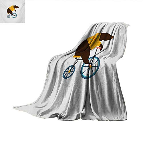 (Bicycle Custom Design Cozy Flannel Blanket Big Teddy Bear Icon of Circus Riding Bicycle with Hipster Costume Animal Image Print Artwork Image 90