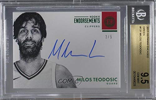 - Milos Teodosic Graded BGS 9.5 GEM MINT #2/5 (Basketball Card) 2017-18 Panini Encased - [Base] - Green #131