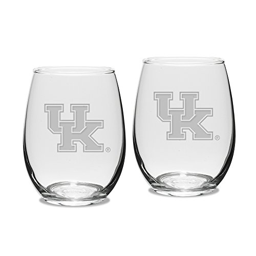 NCAA Kentucky Wildcats Adult Set of 2 - 15 oz Stemless Wine Glass Deep Etched Engraved, One Size, ()