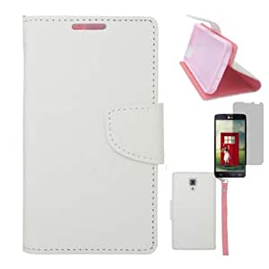 [ARENA] WHITE PINK DUAL TONE LOCK FLIP COVER WALLET ID STAND POUCH CASE for LG VOLT F90 LS740 + FREE SCREEN PROTECTOR