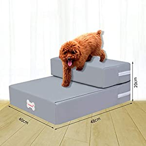Dolloress Waterproof Pet Ramp Pet Ladder PU Leather 2 Stairs Foldable Detachable for Dogs Cats Playing Resting Sleeping Click on image for further info.