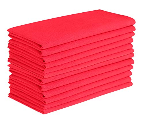 Cotton Clinic Cloth Dinner Napkins 20x20 - 12 Pack, 100% Cotton Soft and Comfortable Cocktail Napkins, Wedding Dinner Napkins with Mitered Corners and Generous Hem - Red (Cotton Napkins Red)