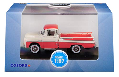 (1957 Dodge D100 Sweptside Pickup Truck Tropical Coral and Glacier White 1/87 (HO) Scale Diecast Model Car by Oxford Diecast 87DP57001)