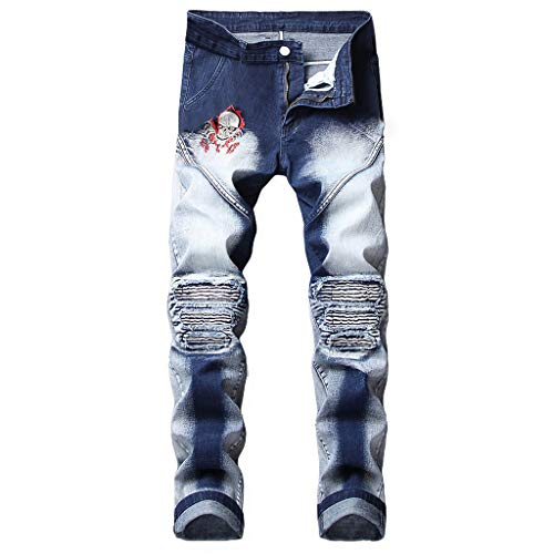 - NUWFOR Men's Stretchy Ripped Skinny Biker Jeans Destroyed Taped Slim Fit Denim Pants(Blue,US:29/AS:30 Waist?30.3