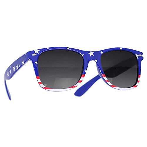 Reflective Mirror Lens Retro Vintage Classic Style Retro Classic Sunglasses Shades (USA Flag/Smoke, - Smoke Eyewear And Mirrors