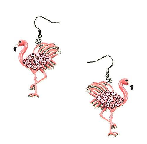 DianaL Boutique Pink Flamingo Earrings Rhinestone Crystal Enamel Gift Boxed