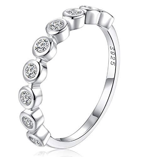 - espere Bezel Set Round CZ Wedding Band Half Eternity Stacking Ring Size 6