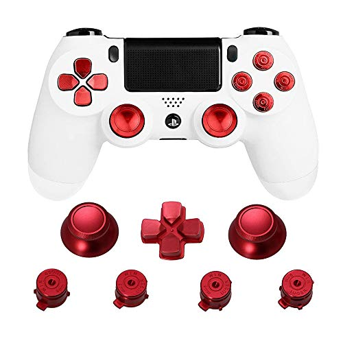 Thumb Grips for PS4 Controller - 7 PCS Aluminum Replacement Kit,ABXY Bullet Buttons,Thumbsticks and Chrome D-pad for Playstation 4/DualShock 4/PS4 Slim/PS4 Pro Controller (Red)