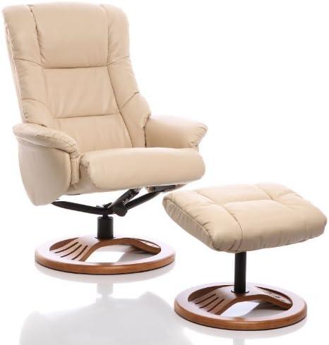 Sillón | Silla giratoria reclinable de Cuero y reposapiés a Juego (Crema)