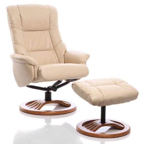 The Mandalay Bonded Leather Recliner Swivel Chair & Matching Footstool in Cream (Round Base Upgrade)