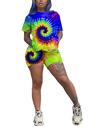(Women's Summer 2 Piece Outfits Tie-dye Short Sleeve Shirts Tops and Short Pants Set Tracksuits Sweatsuits Blue M)