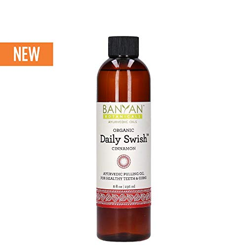 Banyan Botanicals Organic Daily Swish Cinnamon - 8 oz - Ayurvedic Oil Pulling Mouthwash Oil for Oral Health and Detoxification - Coconut Oil Blend for Healthy Teeth and Gums