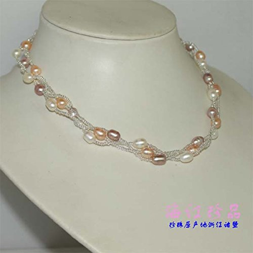 - usongs Red Sea treasures triple-stranded pearl necklace pendant mixed color natural