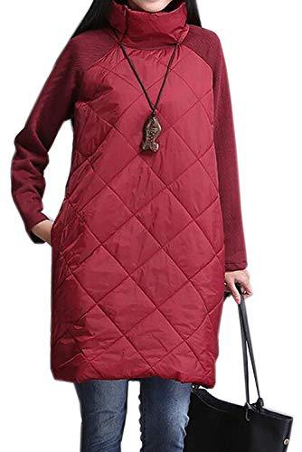 acffe0560f Hiver Jumper Femme Unie Oversize Top Rouge Sweatshirt Sweat Long Manche  Automne Taille Pull Longue Casual Tunique E Grande Col Landove Robe ...