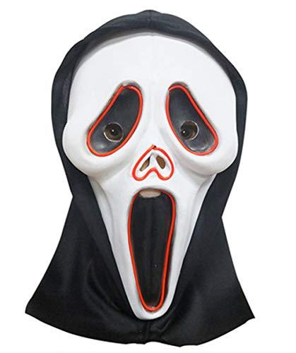 Herocos Horror Skull Scream Cosplay Glowing Latex Mask, Skellington Costume Mask Halloween Costume Props (Mask-Scream) White]()