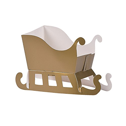 Christmas Sleigh Box - Fun Express Christmas Night Sleigh Treat Boxes | 12-Piece Set | Great for Christmas Parties, Favors, Souvenirs