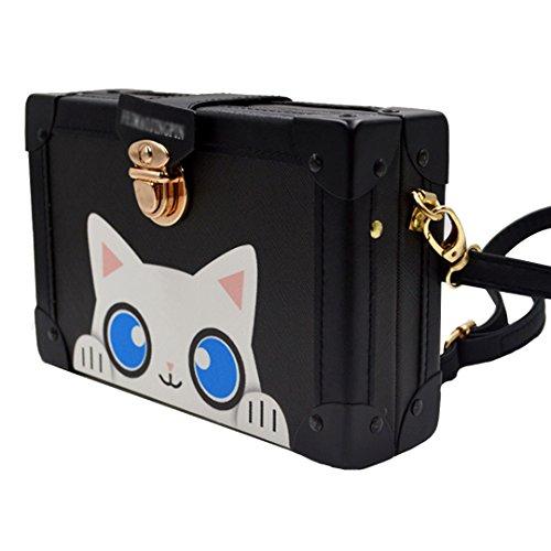 Sling Box Chain Handbag 00703 Satchel Black Tote body Monique Women Square Cross Small Mini Bag wP0vXqBx