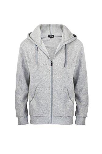 Men's Solid Full-Zip Classic Active Fleece Hoodie Sweatshirts Heather Grey S