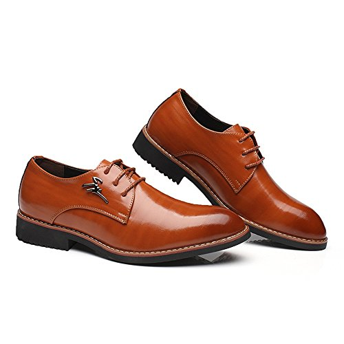 Upper Pelle Up Marrone a traspirante EU Oxfords Jiuyue lavoro Color Dimensione Lace con Matte shoes Marrone Scarpe Uomo Scarpe 2018 formali punta PU 42 uomo Leather da da punta qBPOAqw