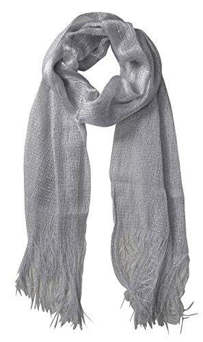 Shimmer Scarf (Peach Couture Women Sheer Metallic Shimmer Mesh Glitter Sparkle Scarf Shawl Wrap (White))